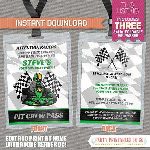 Go Kart Birthday Party VIP Pass Invitations (Green) - INSTANT ...