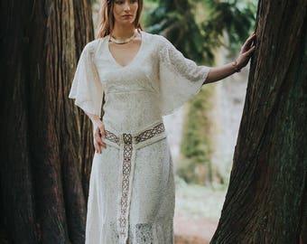 Pagan Handfasting Wedding Dress, Sleeved Wedding Dress, Celtic Wedding Dress, Woodland Dress, Custom made, Pagan, Simple Wedding