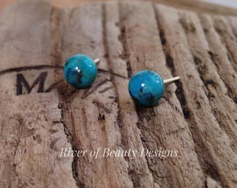 Petite Natural Turquoise + Silver Stud Earrings, Small Turquoise Balls + Sterling Silver Posts, December Birthstone, River of Beauty Designs