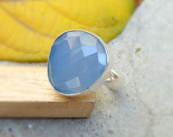 Blue Chalcedony Ring, Sterling silver ring, Faceted Blue Chalcedony Gemstone, March Birthstone, Chalcedony Jewelry, Stacking ring size 8