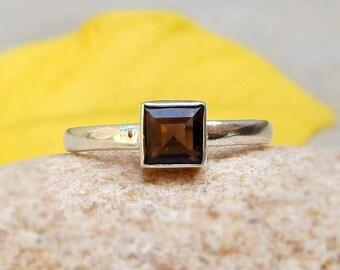 Smokey Quartz Ring Brown Gemstone Square Ring Smoky Ring Quartz Jewelry 925 Silver Ring Smoky Jewelry Solitaire rings Ring Brown Stone Ring