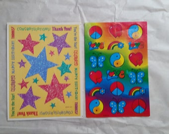 Peace Love Star Stickers 2 Pages New- Old Stock Hallmark AGC
