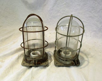 Industrial Lighting, Bulb Protector Lights, Factory Sconces, Factory Salvage