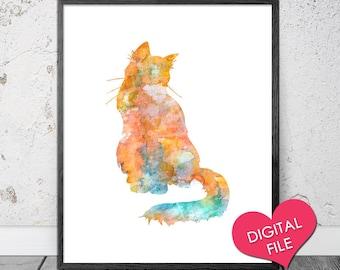 PRINTABLE Watercolor Cat Art- Cat Wall Art- Cat Wall Decor- Cat PRINTABLE- Cat Painting- Cat Watercolor Print, Watercolor Art, DIGITAL File