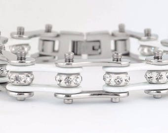 NEW Women's Ladies Motorcycle Stainless Steel Crystal White Bike Chain Bracelet