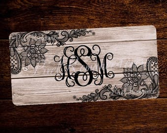 Personalized License Plate Monogram Car Tag Set Custom Initials Matching License Frame Black Lace on Wood