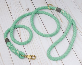 Spearmint Cotton Rope Dog Leash