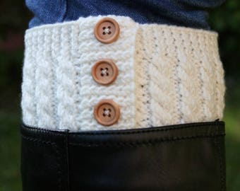 Knitting pattern for cabled boot toppers - easy cable knitting