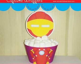 50% OFF Printable Digital PDF File - Cupcake Wrappers Superhero Baby Boy I
