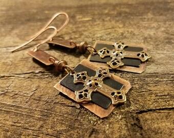 Cross Earrings, Mixed Metal Earrings, Copper Earrings