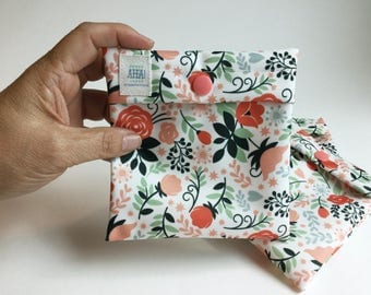 Coral Floral Wet Pouch for Cloth Pantyliner or Menstrual Pad, Snap Close Pad Wrapper, Menstrual Cup Pouch, Cloth Pad Wet Bag, Tampon Holder