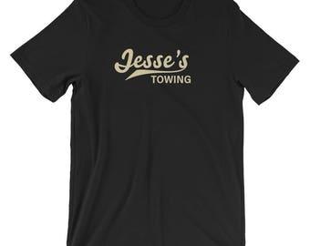 Jesse's Towing unisex dark t-shirt -- Orphan Black prop replica, Helena Sestras, boyfriend