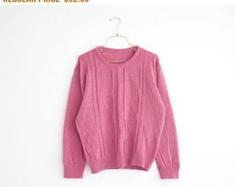 Cable Knit Sweater, Vintage Sweater, Dusty Pink Sweater, Women Sweater Size Medium