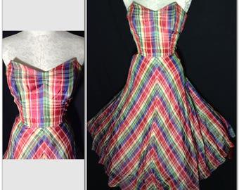 "RAINBOW 1940s to early 1950s ""California Smartys"" lightweight taffeta strapless dress Sz M 30"" waist"