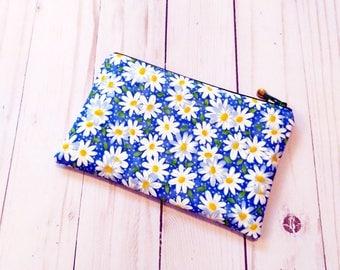 Daisy Blue Small Zipper Pouch