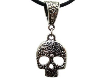 Silver Sugar Skull Choker, Skull Jewelry, Protection Gift, Hippie Boho Choker, Day of the Dead Skulls, Dia De Los Muertos, Gothic Jewelry