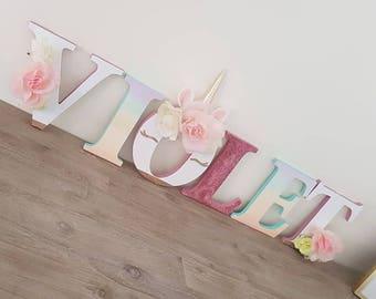 Custom Unicorn Letters - Wood Letters - Home Decor - Party Decor