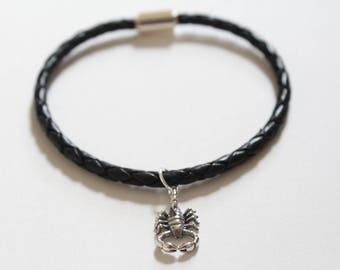 Leather Bracelet with Sterling Silver Scorpion Charm, Scorpion Charm Bracelet, Scorpion Bracelet, Scorpion Pendant Bracelet