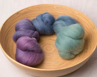 Subtle Green, Blue and Purple Gradient Battling Set, perfect for spinning or felting (170198)