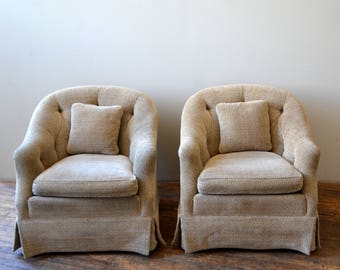 Pair of Elegant Tufted Club Lounge Chairs