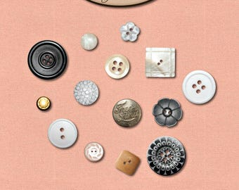 Digital Scrapbooking, Commercial Use, Buttons: In The Button Tin 1