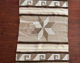 Amazing Handmade Mexican Vintage Rug, Blanket, Wall Hanging, Bohemian Decor, Folkie  Rug,