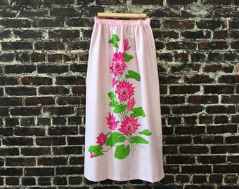 1970s Alfred Shaheen Maxi Skirt. Light Pink Hawaiian Skirt COTTON w/ Neon Pink & Green Flowers. '70s Hawaiian Print Floral Skirt. Size Small