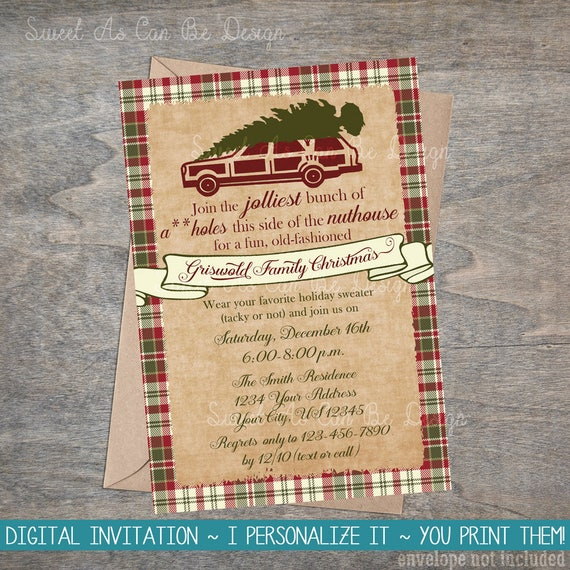 Christmas vacation invitation red green plaid griswold like this item stopboris Image collections