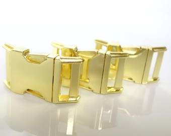 Buckles Gold Side Release Metal Buckle For DIY Dog Collars  Five Eighths, Three Quarter, or One Inch Width Dog Collar Buckle Diecast Brass