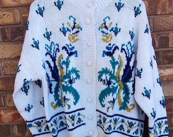 Vintage Hand Knitted Compagnie Internationale Express Cardigan - Ramie and Cotton Blend - Size L - Like New