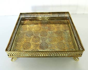 Vintage Brass Tray, Square Pineapple Tray, Decorative Tray, Bar Cart Vanity Decor, Boho Home Decor, Accents, Gifts, Pineapple Decor