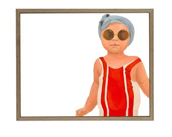 Baby in Swimsuit Oil Painting