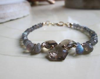 Smokey quartz / blue flash labradorite/ bracelet/ 14 kt GF/ Gift for Her/ Modern/arm candy