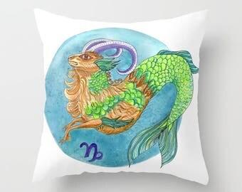 Capricorn Pillow, Throw Pillow, zodiac, star signs,  turquoise,  green,  capricorn gift, astrology cushion