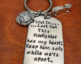 Personalized hand stamped firefighter key chain, keep him safe, hero fireman gift, always come home, fire truck, Maltese cross, first in