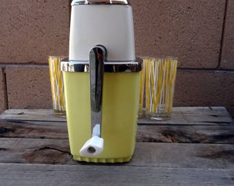 Vintage Ice Crusher, Swing-A-Way Manuel Ice Crusher, Lemon, White And Chrome, 1950's