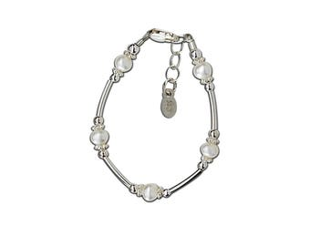 Sterling Silver Bracelet with Freshwater Pearls for Girls  Comes in Gift Box (Madelyn)