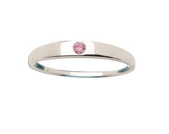 Sterling Silver Baby Ring with CZ Stone for Girls (BR-04)