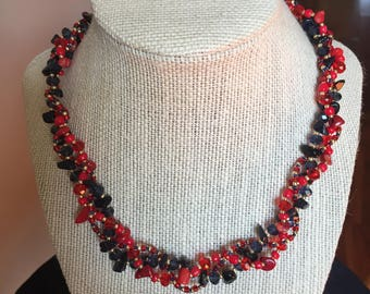 Red, Navy and Gold Necklace