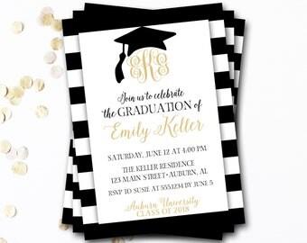 Graduation Invitation, Monogram Graduation Invitation, Black and Gold Graduation Invitation, Graduation Announcement, DIY Printable
