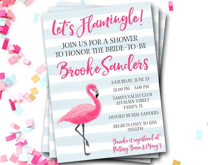 Flamingo Bridal Shower Invitation, Flamingo Invitation, Preppy Bridal Shower Invitation, Flamingo Invite, Preppy Invite, DIY Printable
