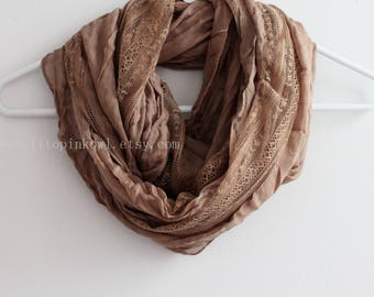 Taupe Brown Lace Infinity Scarf, Lace Block Scarf, Bridesmaid Scarf, Infinity Scarf