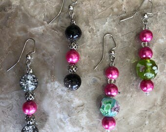 Pink, green and black dangles