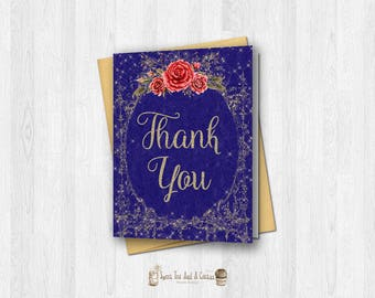 Beauty and the Beast Thank You Card Princess Fairytale Note Cards Vintage Gold and Navy Blue w/ Red Roses Printable Digital File Stationary