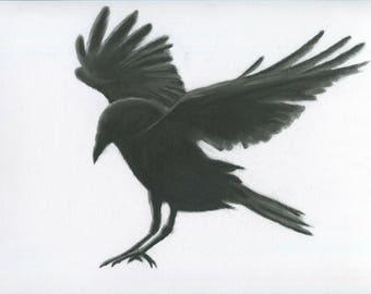 charcoal crow 11x14 original crow drawing charcoal raven raven drawing