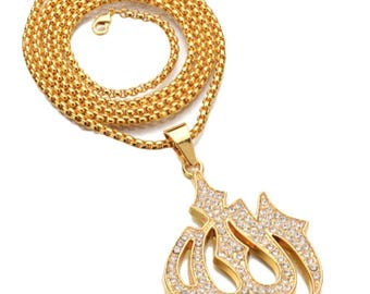 Gold Color Cubic Zirconia Necklace Religious Muslim Jewelry
