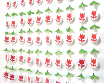 Flower Garland Backdrop,Wedding Backdrop Curtain For Ceremony Reception decor,Rose Wedding Banner,Photobooth,Paper,Photo,Wall Art,Red,8 Ft