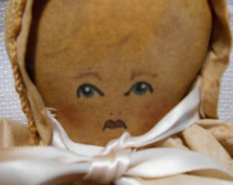 Antique Oil Cloth Doll, Late 1800s , Hand Painted Face - with Mitten Shaped Hands