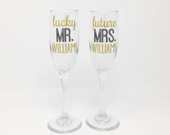 Personalized Future Mrs Lucky Mr Champagne Glass Set, Engagement Gift for Couple, Custom Engagement Gift, Toasting Flutes, Mr & Mrs Glasses