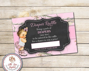 INSTANT DOWNLOAD - Pink Camouflage Baby Shower Diaper Raffle Tickets - Camo Baby Shower - Pink Camo - Baby Shower Games - Caucasian